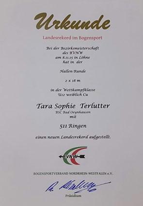 Urkunde Landesrekord im Bogensport